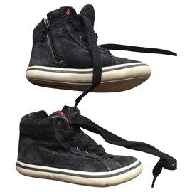 Prada-chaussures basket enfant-Bleu Marine
