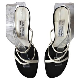 Balenciaga-Leather mules Wedge heels for El Corte Ingles-Black,White