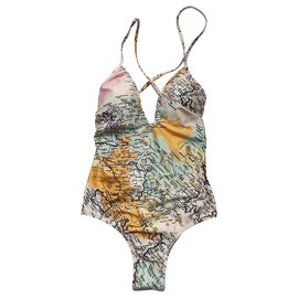 10 Crosby by Derek Crosby-Maillot de bain imprimé carte-Multicolore