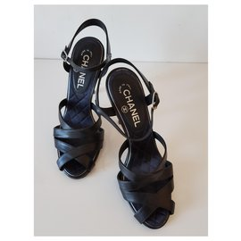 Chanel-Chanel leather sandals-Black