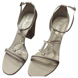 Dior-Sandales à talons DIOR-Blanc cassé