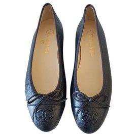 Chanel-Chanel ballerinas new gray leather-Grey