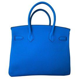 Hermès-Birkin 30 Zanzibar / Malachite-Bleu