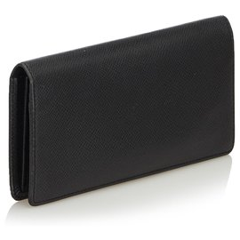 Louis Vuitton-Louis Vuitton Black Taiga Portefeuille Brazza Bi-fold Long Wallet-Black