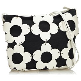 Céline-Celine Black Floral Shoulder Bag-Black,White