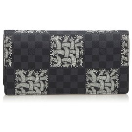 Louis Vuitton-Louis Vuitton Black Damier Graphite Portefeuille Brazza Christopher Nemeth Wallet-Black,White