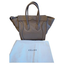 Céline-Céline Luggage Mini-Beige