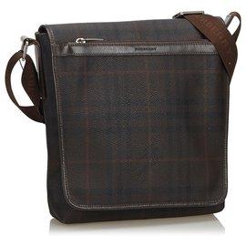 Burberry-Burberry Brown Plaid Coated Canvas Crossbody Bag-Brown,Dark brown