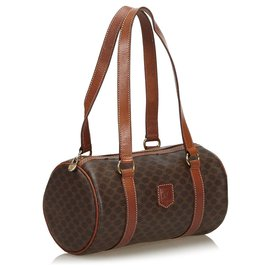 Céline-Celine Brown Macadam Shoulder Bag-Brown