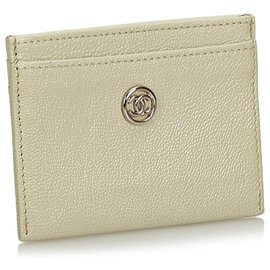 Chanel-Chanel White Leather Card Holder-White