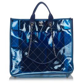 Chanel-Chanel blue 2018 Quilted PVC Large Coco Splash Shopping Tote-Blue