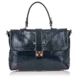Mulberry-Mulberry Black Patent Leather Harriet Satchel-Black