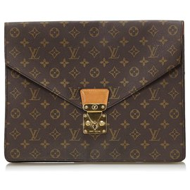 Louis Vuitton-Louis Vuitton Brown Monogram Porte Documents Senateur-Brown