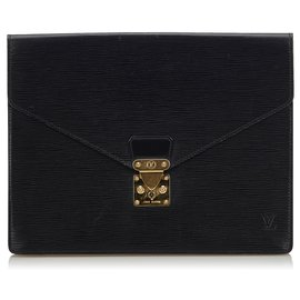 Louis Vuitton-Louis Vuitton Black Epi Porte Documents Senateur-Black