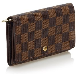 Louis Vuitton-Louis Vuitton Brown Damier Ebene Flap Small Wallet-Brown