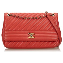 Chanel-Chanel Red Diagonal Quilted Flap Bag-Red