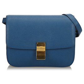 Céline-Celine Blue Medium Classic Box Bag-Blue