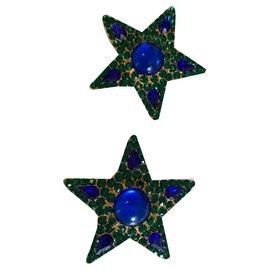 Yves Saint Laurent-Boucles d'oreilles Yves Saint Laurent-Vert foncé,Bleu foncé