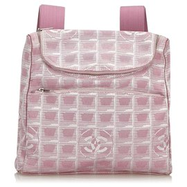 Chanel-Chanel Pink New Travel Line Convertible Backpack-Pink,White