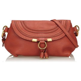 Chloé-Chloe Red Small Leather Marcie Crossbody Bag-Red,Dark red