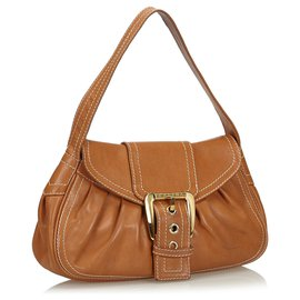 Céline-Celine Brown Leather Shoulder Bag-Brown