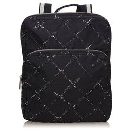 Chanel-Chanel Black Old Travel Line Nylon Backpack-Black,White