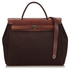 Hermès-Hermes Brown Toile Herbag PM-Marron,Marron foncé