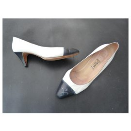 Céline-Heels-White,Navy blue