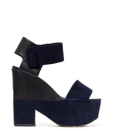 Céline-2 TONES LEATHER SUEDE FR38/38.5-Black,Navy blue