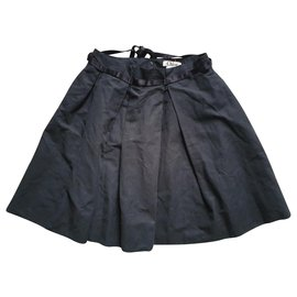 Chloé-Cotton and linen pleated skirt-Black