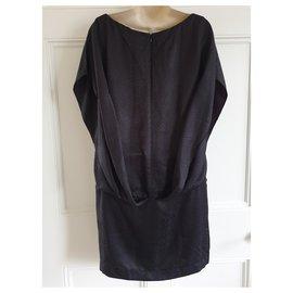 Balenciaga-Robe en soie noire-Noir