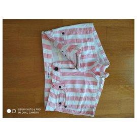 Pepe Jeans-pepe jeans pl800517 short en denim à rayures layla-Rose,Blanc