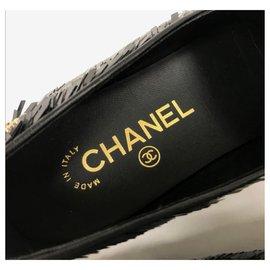 Chanel-Chanel black sequins flats loafers EU36.5-Black