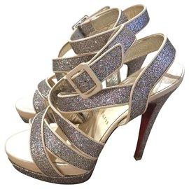 Christian Louboutin-Christian Louboutin criss-cross platform heels EU36-Silvery