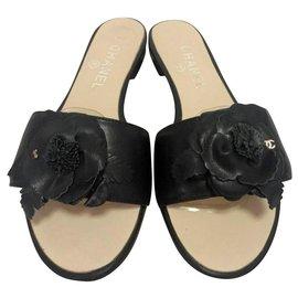 Chanel-Chanel black floral slides sandals EU37-Black