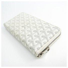 Goyard-Goyard White Matignon Long Wallet-White,Grey