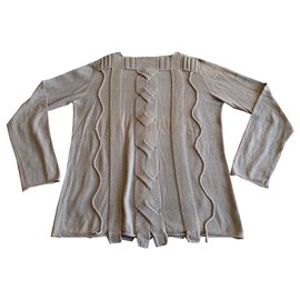 Marithé et François Girbaud-Graphic hand-stitched cotton sweater-Beige