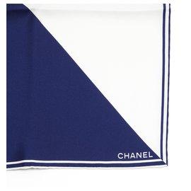 Chanel-2 TONES SILK CC-White,Navy blue