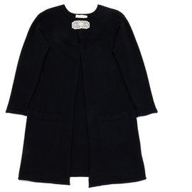 Valentino-BLACK LONG CASHMERE FR38/40-Noir