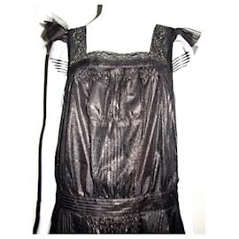 Anna Sui-Fleur Lace Dress-Black,Golden