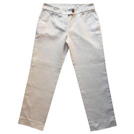Yves Saint Laurent-Pantalon en coton blanc-Blanc