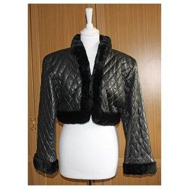 Valentino-Magnifique veste en cuir et fourrure Valentino Boutique-Noir
