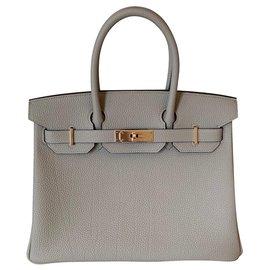 Hermès-Hermes Gris Tourterelle Togo 30CM Rose Gold Hardware-Grey