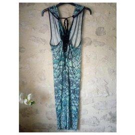 Just Cavalli-Python print dress-Blue,Python print