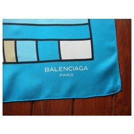 Balenciaga-Foulard en soie turquoise-Turquoise