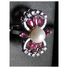 inconnue-White gold Art Deco ring 750Pearl Ruby Pearl-Silvery,Red