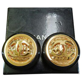 Chanel-Chanel Clip-on Vintage CC-Golden
