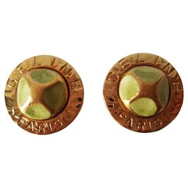 Céline-Earrings-Golden,Light green