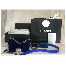 Chanel-Boy Mini Velvet w/box-Blue,Dark blue