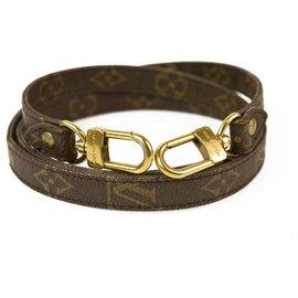 Louis Vuitton-Bracelet en toile monogram d'épaule en cuir non ajustable Louis Vuitton-Marron